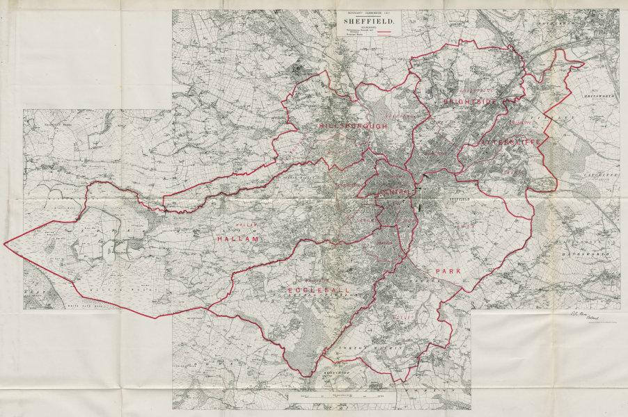 Associate Product Sheffield Parliamentary Borough Hallam Hillsborough BOUNDARY COMMISSION 1917 map