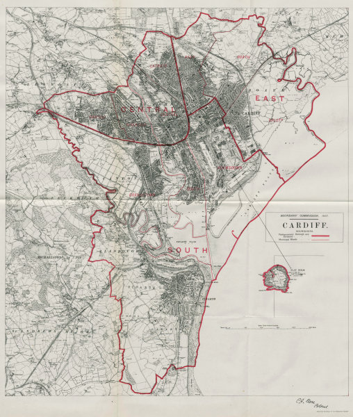 Associate Product Cardiff Parliamentary Borough. Wales. BOUNDARY COMMISSION. Close 1917 old map