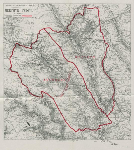 Associate Product Merthyr Tydfil Parliamentary Borough. Aberdare. BOUNDARY COMMISSION 1917 map