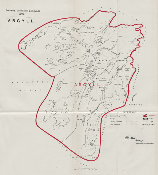 Associate Product Argyll Parliamentary County. Scotland. BOUNDARY COMMISSION. Close 1917 old map