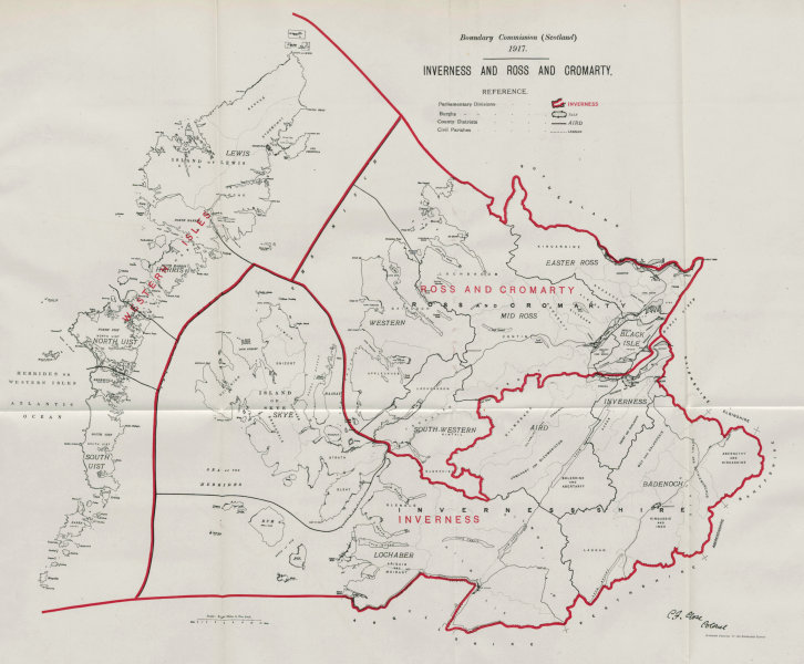 Associate Product Inverness & Ross & Cromarty Parliamentary County. BOUNDARY COMMISSION 1917 map