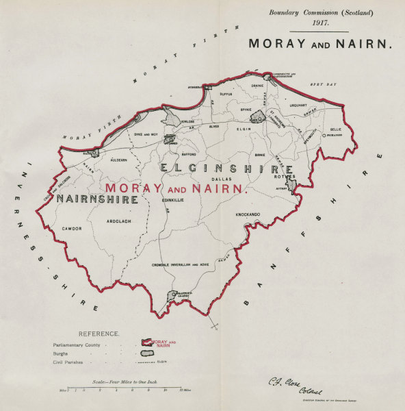Associate Product Moray & Nairn Parliamentary County. Scotland. BOUNDARY COMMISSION 1917 old map