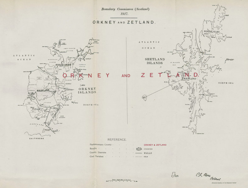 Associate Product Orkney & Zetland Parliamentary County. Scotland. BOUNDARY COMMISSION 1917 map