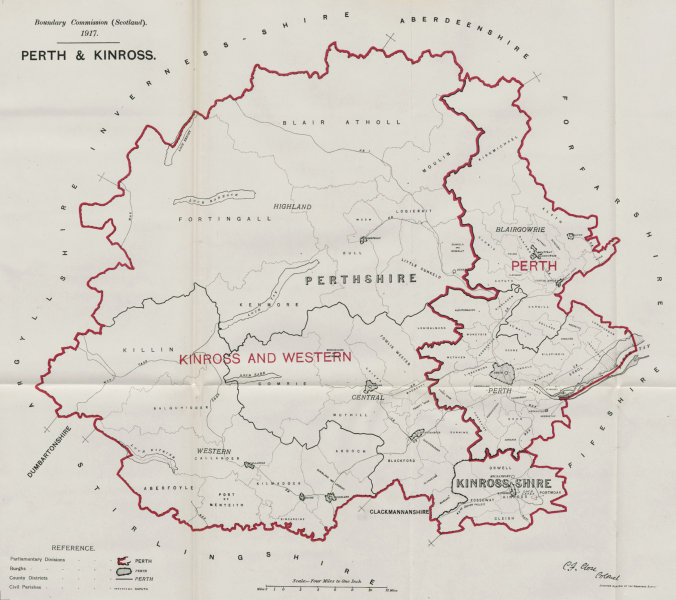 Associate Product Perth & Kinross Parliamentary County. Scotland. BOUNDARY COMMISSION 1917 map