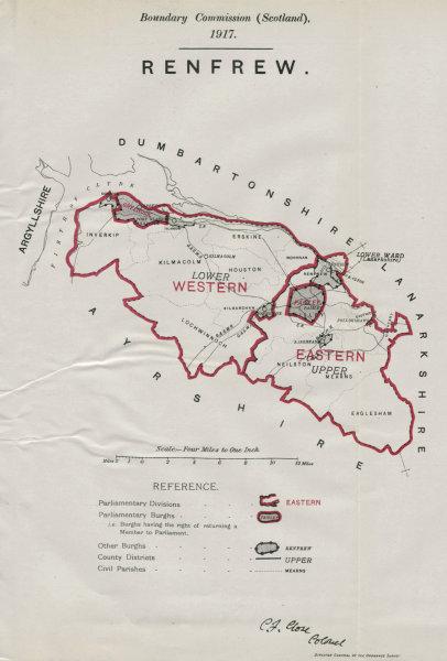 Associate Product Renfrew Parliamentary County. Scotland. BOUNDARY COMMISSION. Close 1917 map