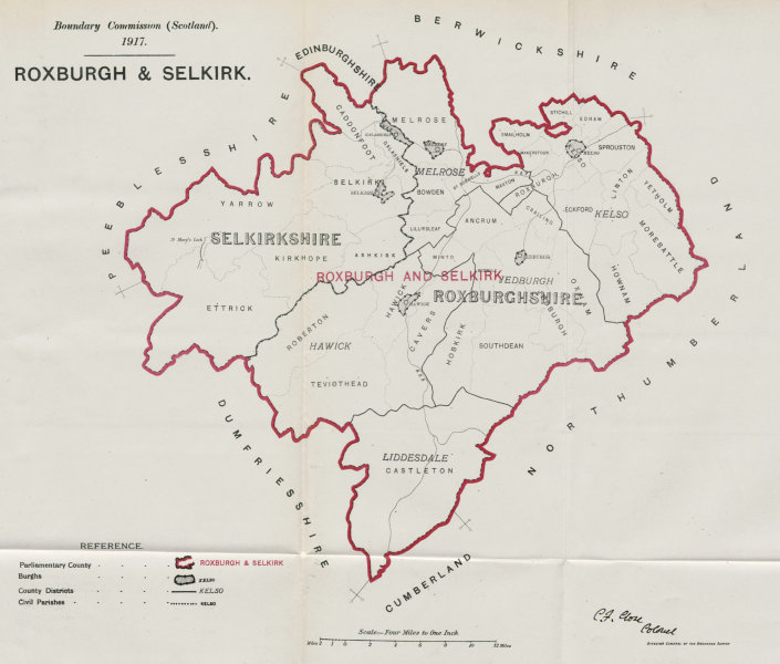 Associate Product Roxburgh & Selkirk Parliamentary County. Scotland. BOUNDARY COMMISSION 1917 map