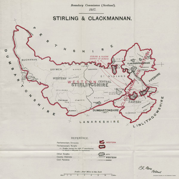 Associate Product Stirling & Clackmannan Parliamentary County. BOUNDARY COMMISSION 1917 old map