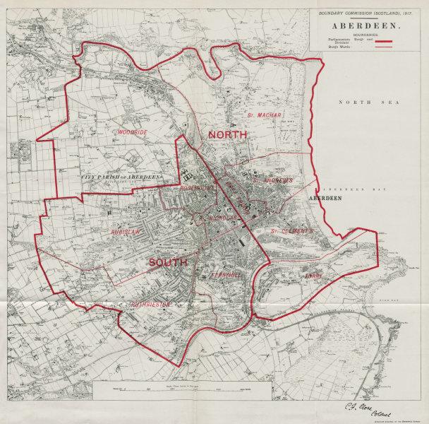 Associate Product Aberdeen Parliamentary Borough. Rubislaw Woodside. BOUNDARY COMMISSION 1917 map