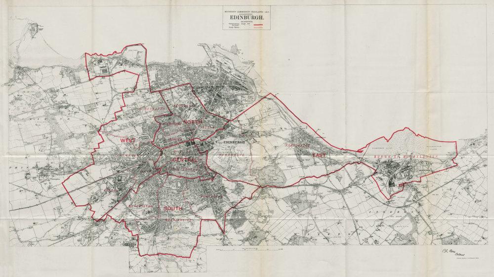 Associate Product Edinburgh Parliamentary Borough. Musselburgh BOUNDARY COMMISSION 1917 old map