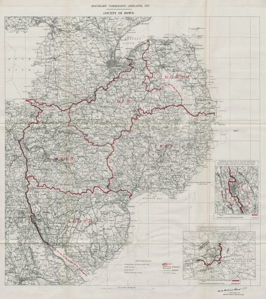 Associate Product County Down Parliamentary. Ireland. BOUNDARY COMMISSION. Whitlock 1917 old map