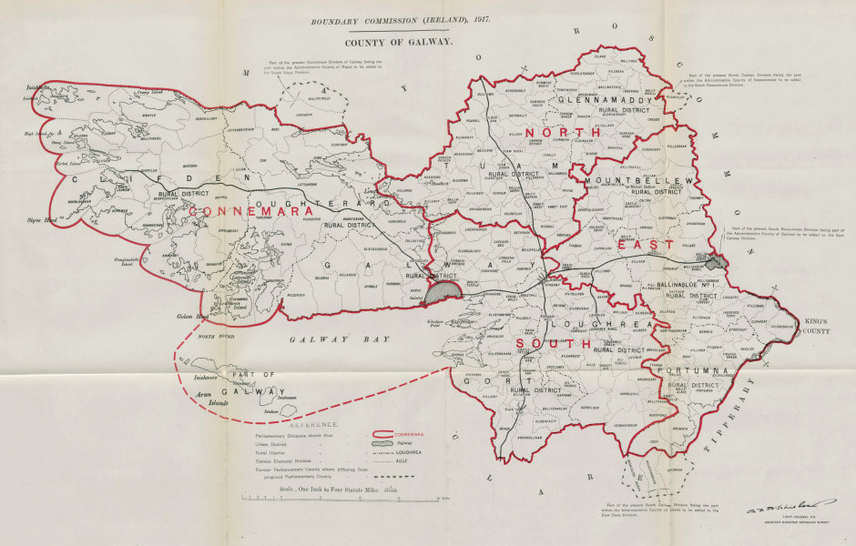 Associate Product County of Galway Parliamentary. Ireland. BOUNDARY COMMISSION. Whitlock 1917 map