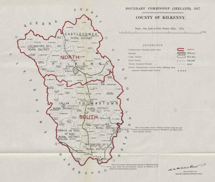 Associate Product County Kilkenny Parliamentary. Ireland. BOUNDARY COMMISSION. Whitlock 1917 map
