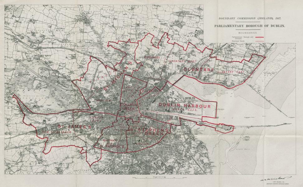 Associate Product Dublin Parliamentary Borough. St James's Clontarf BOUNDARY COMMISSION 1917 map