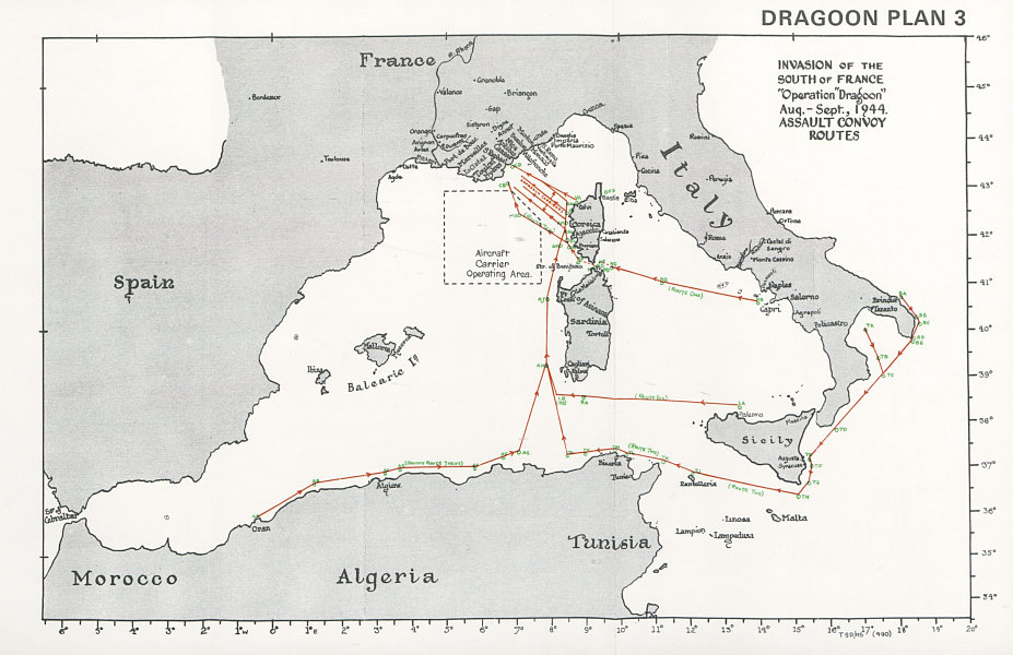 Associate Product South of France invasion. Operation Dragoon 1944 Assault Convoy Routes 1994 map