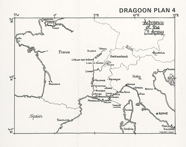 Associate Product South of France invasion. Operation Dragoon 1944. 7th Army advance 1994 map