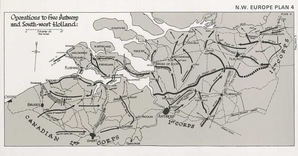 Associate Product Operations to free Antwerp and South-West Holland 1944. World War Two 1994 map