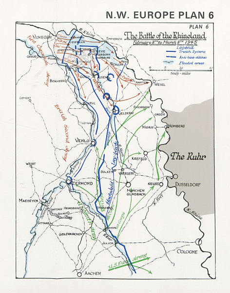 Associate Product The Battle of the Rhineland, 8th February-8th March 1945. World War Two 1994 map