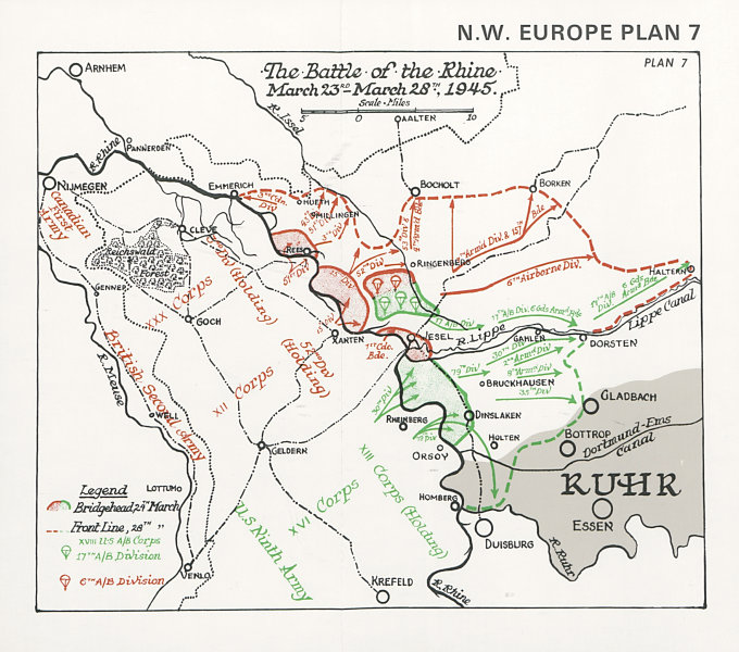 Associate Product Battle of the Rhine, 23-28 March 1945. Defeat of Germany. World War Two 1994 map