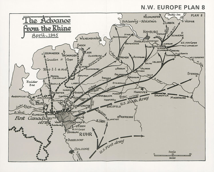 Associate Product Advance from the Rhine, April 1945. Defeat of Germany. World War Two 1994 map