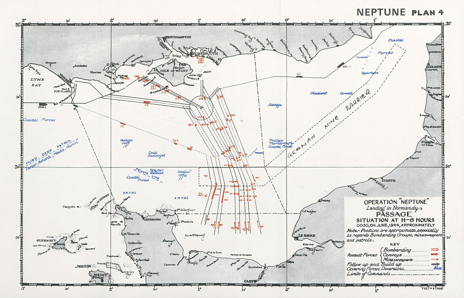 Associate Product Operation Neptune Normandy Landings D-Day Situation 0030 6th June 1944 1994 map