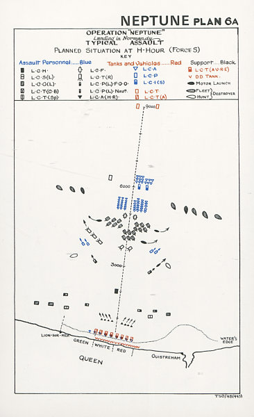 Associate Product Normandy Landings. D-Day 1944. Assault plan H-Hour Force S. Ouistreham 1994 map