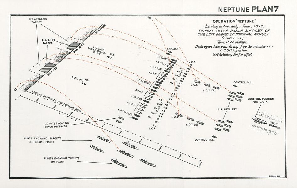 Associate Product Normandy Landings D-Day 1944. Nan Juno Assault Force J support St Aubin 1994 map