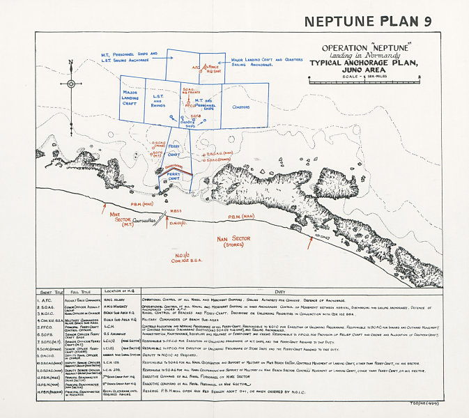 Associate Product Normandy Landings D-Day 1944. Anchorage Plan. Courseulles. Juno beach 1994 map