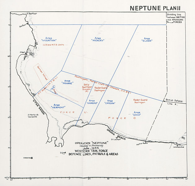 Associate Product Operation Neptune Normandy Landings D-Day June 1944. Western Task Force 1994 map