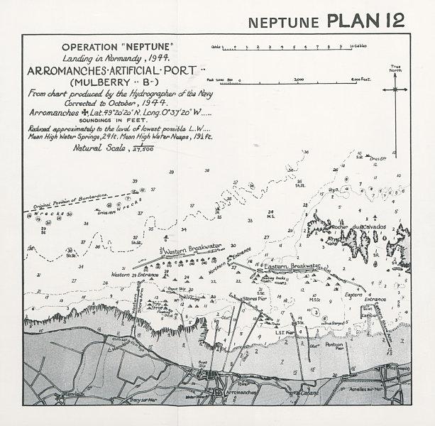 Associate Product Normandy Landings. D-Day 1944. Arromanches Mulberry Harbour B. Neptune 1994 map