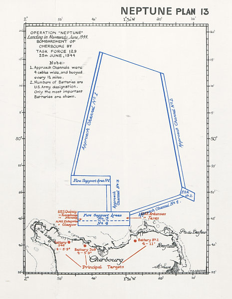 Associate Product Normandy Landings. D-Day. Bombardment of Cherbourg 25 June 1944 1994 old map
