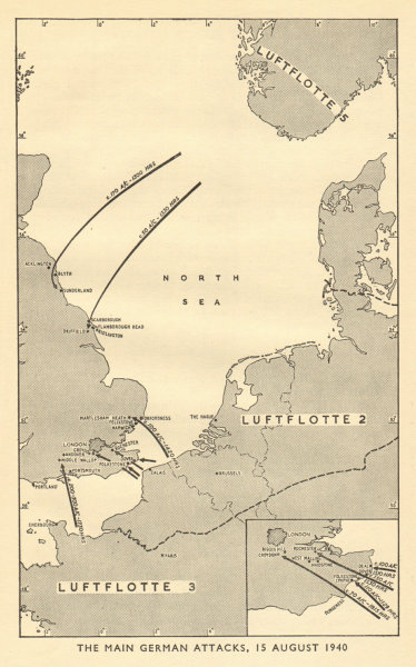 Associate Product Battle of Britain. German attacks against RAF bases 15 August 1940. WW2 1953 map