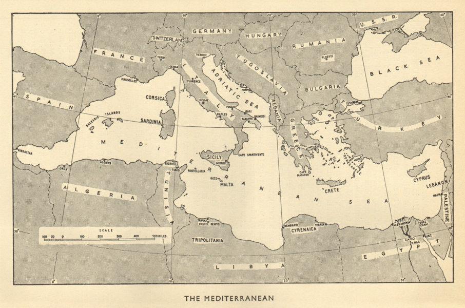 Associate Product The Mediterranean Theatre. World War 2 1953 old vintage map plan chart