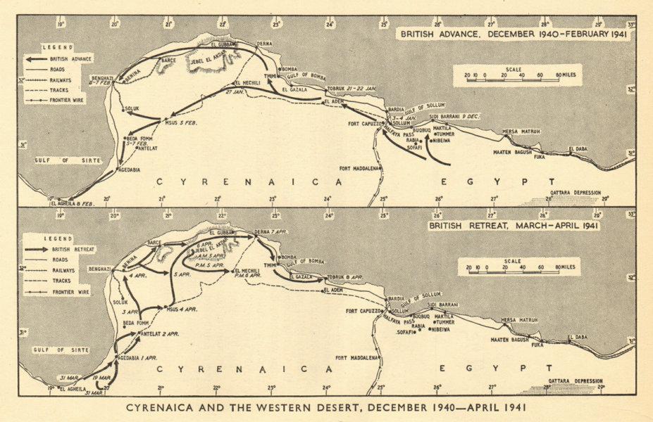 Associate Product North African Campaign December 1940-April 1941. World War 2. Libya 1953 map