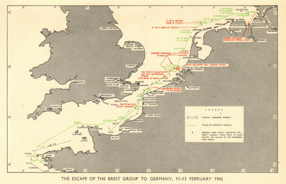 Associate Product Channel Dash Unternehmen Zerberus. 11-13 February 1942. World War 2 RAF 1953 map