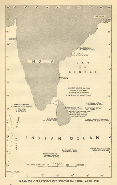 Associate Product Indian Ocean Raid April 1942. Japanese operations. World War 2. Ceylon 1954 map