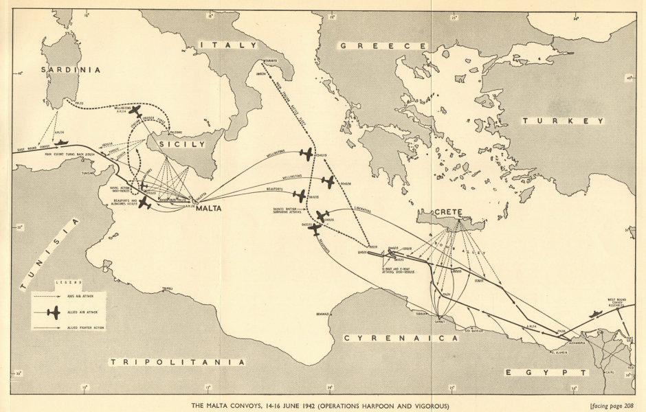 Associate Product Malta convoys 14-16 June 1942. Operation Harpoon & Vigorous World War 2 1954 map