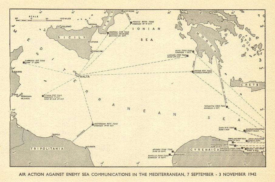 Associate Product Air attacks against Axis Mediterranean shipping Sept-Nov 1942. WW2 1954 map