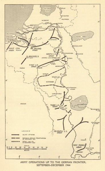 Associate Product Army operations to German frontier September-December 1944. World War 2 1954 map