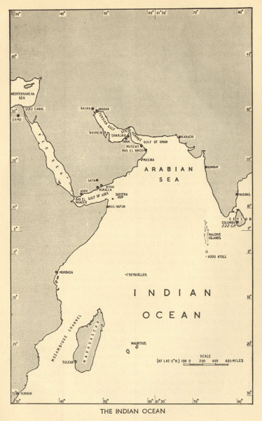 "Associate Product The Indian Ocean Theatre. World War 2. ""Dibai"" Dubai 1954 old vintage map"