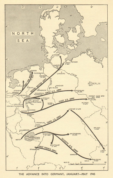 Associate Product Advance into Germany, January - May 1945. World War 2 1954 old vintage map