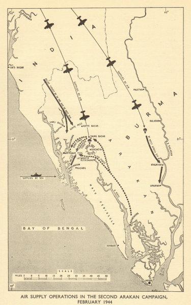 Associate Product RAF air supply operations 2nd Arakan Campaign Feb 1944. WW2. Burma 1954 map