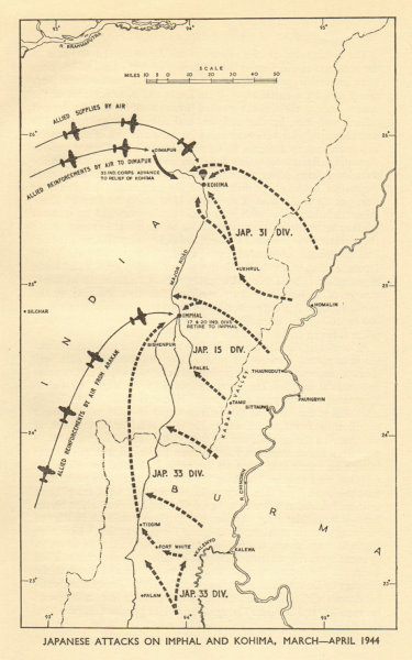 Associate Product Japanese attacks on Imphal & Kohima March-April 1944. World War 2 Burma 1954 map