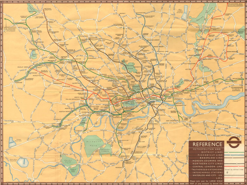 Associate Product London Underground Railway Map. London Transport tube plan. Number 1 - 1937