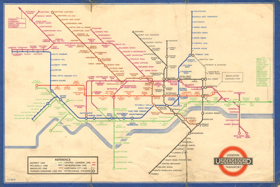 LONDON UNDERGROUND tube plan map diagram. Middle Circle. HARRY BECK #1 1937
