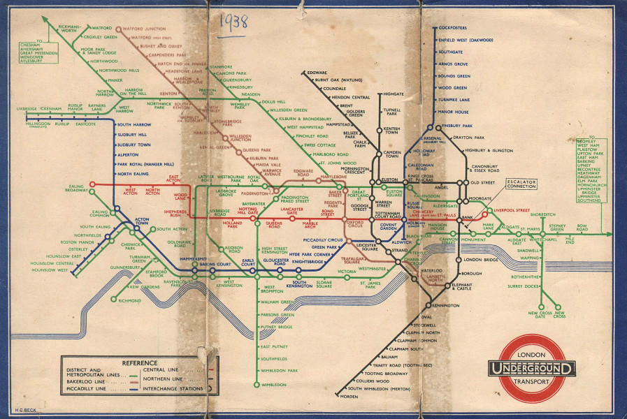 LONDON UNDERGROUND tube plan map diagram. Middle Circle. HARRY BECK #1 1938