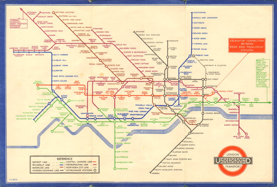 LONDON UNDERGROUND tube plan map diagram. Middle Circle. HARRY BECK #2 1935