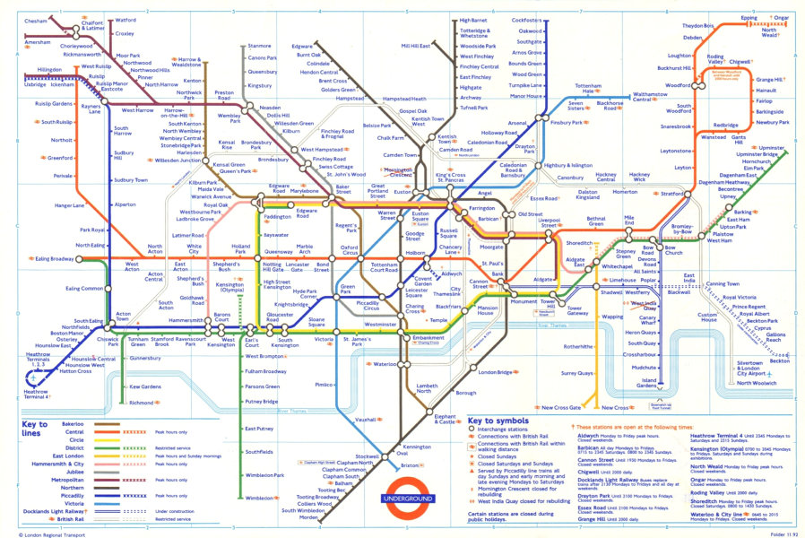 Associate Product LONDON UNDERGROUND tube plan map. Beckton DLR u/c. Mornington Crescent shut 1993