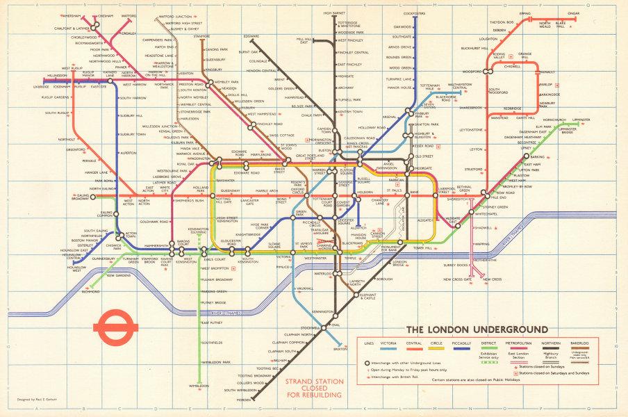 Associate Product LONDON UNDERGROUND tube map plan. Victoria Line. Strand closed. GARBUTT #2 1974