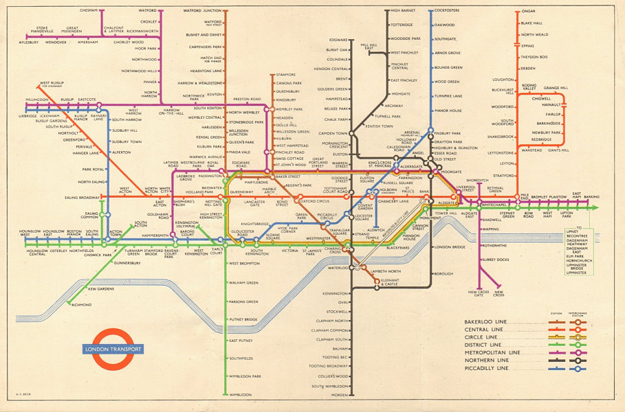 LONDON UNDERGROUND tube map plan. Ongar - Epping. South Acton. HARRY BECK 1951
