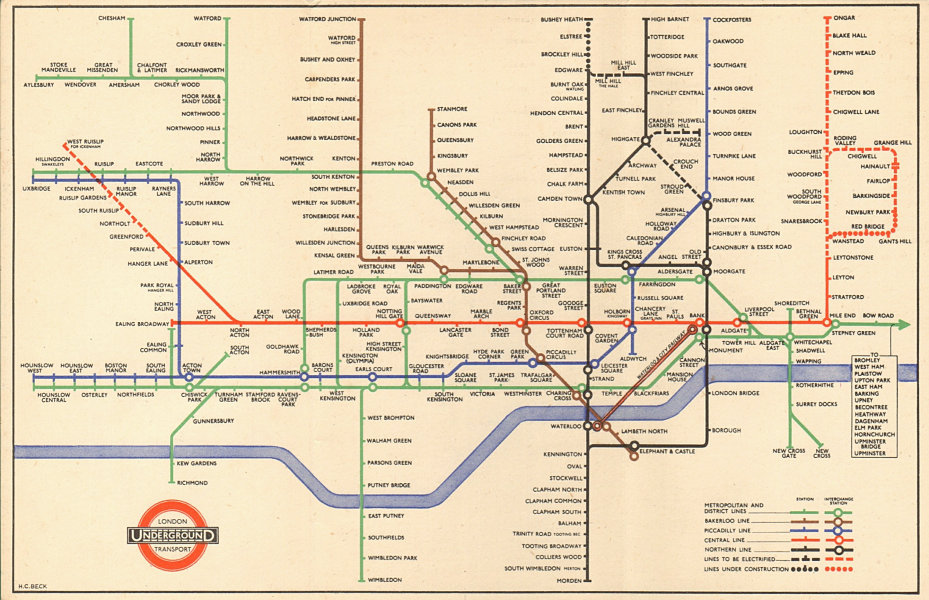LONDON UNDERGROUND tube map plan. Central line extensions u/c. HARRY BECK 1947